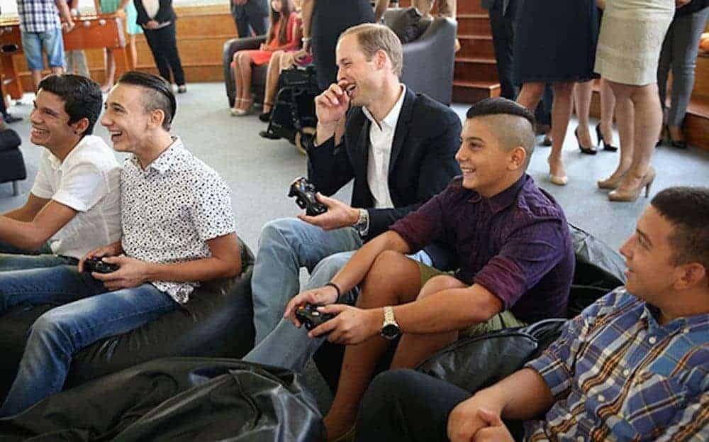 Prince William in Malta, sitting on a bean bag