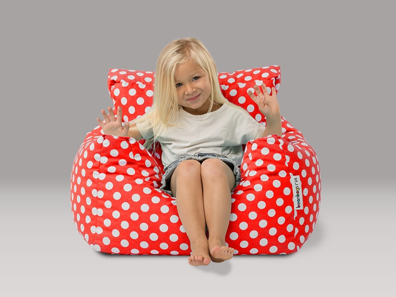 Coco kids beanbag chairs red white dots